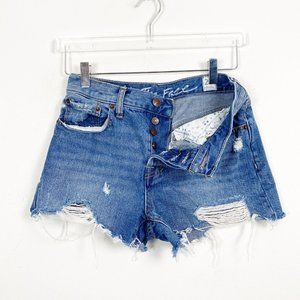 Free People Button Fly Hi Rise Distressed Shorts